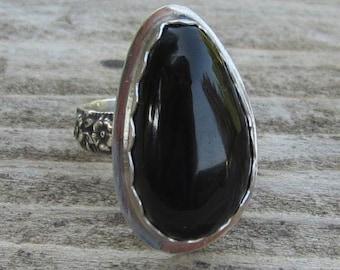 Indianische inspirierte Obsidian Sterling 925er Silber Ring - Größe 8-1/4