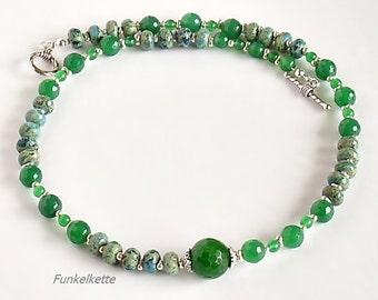 Femenin agate Green Necklace Green Jewelry green gem jewelry jasper Rondelle Pearl