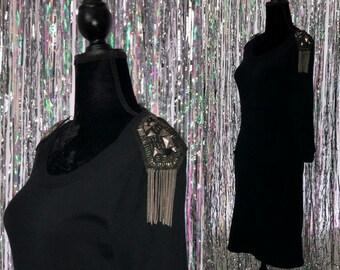 90's Energie Black Dress with Silver Fringe Shoulders (S)