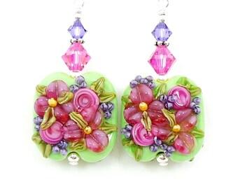 Pink Floral Earrings, Flower Earrings, Colorful Earrings, Lampwork Earrings, Glass Earrings, Glass Bead Earrings, Bead Earrings