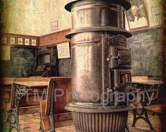 Vintage Furnace - Old Schoolroom - Antique - One Room Schoolhouse - Rustic Photo - Fine Art Photography