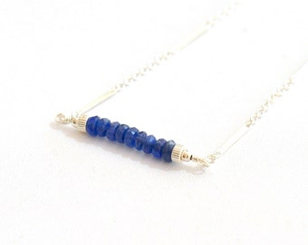 Blue Sapphire Necklace, Available in Sterling Silver/Gold-filled, Delicate Silver chain Necklace, September Birthstone Jewelry, Gift For Her