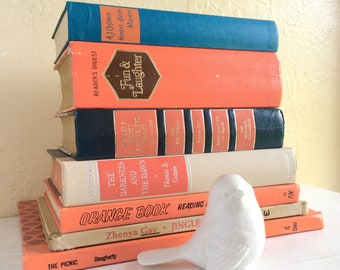 Vintage Books Collection Orange Bright Fun Colorful Home Decor Set Retro Hardcover Hard Back Hardback