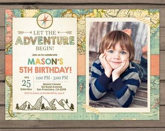 Let the Adventure Begin Birthday Invitation Adventure Birthday invitation Adventure invite Rustic Boy birthday Travel PRINTABLE ANY AGE ad