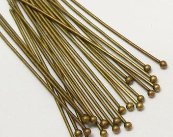 100pcs 50mm Antique Bronze Brass Ball End Headpins 22 Gauge