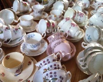 Job lot of 40 Pretty Vintage Tea Cups & Saucers - ideal for Tea parties
