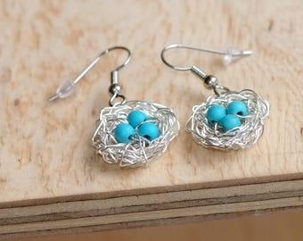 Hand Wrapped Wire Wrapped Robin's Nest Earrings, Turquoise Earrings, Silver Bird Nest Earrings