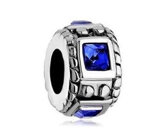 Sapphire Bead, Spacer Bead, Large Hole Bead, European Bead, Charm Bead, Add a Bead, Charm Bracelet, European Charm, Big Hole Bead, Blue