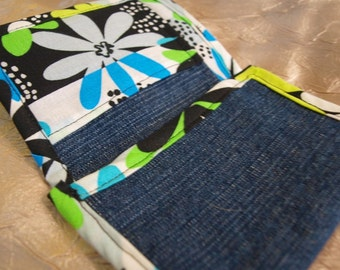 Denim Trifold Wallet with Pockets