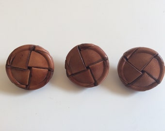Vintage leather knot shank buttons 28 mm set of 3