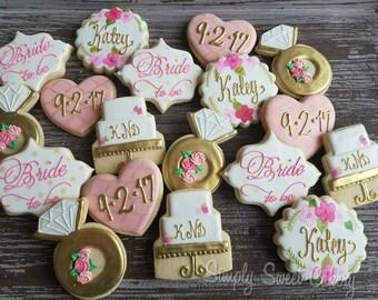 Floral bridal shower cookies  (30 cookies)