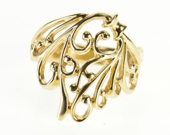 14k Ornate Scroll Wave Pattern Statement Ring Gold