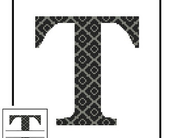 Monogram T Cross Stitch Pattern T Initial T Letter cross stitch Wedding Gift House Warming split letter cross Wedding Record Anniversary