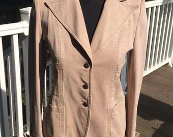 100% Authentic Vintage Chanel khaki beige tan fitted denim blazer jacket