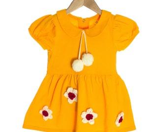 Puff Sleeve Dress | Orange + Flowers