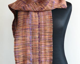 Purple and Brown Hand Woven Wool Scarf