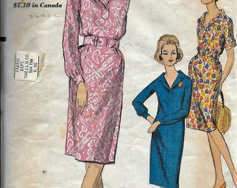 Vintage 1960s Vogue 5776 One Piece Sheath Dress Sewing Pattern Size 14 Bust 34