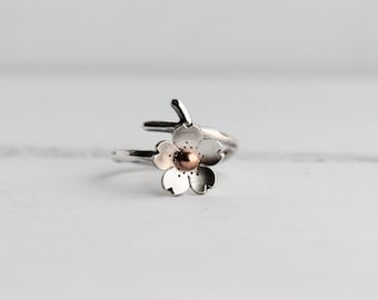 Cherry Blossom Branch, Twig Jewelry, Spring Jewelry, MADE to ORDER, Plum blossom, Twig ring, Bridal accessories, wedding jewelry