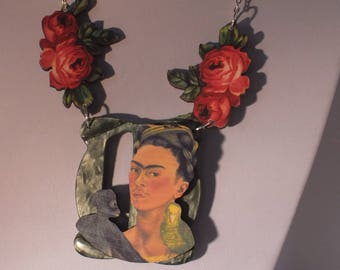 frida kahlo statement handmade necklace vintage parts and woodcut , wooden,lasercut