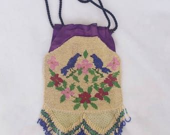 Beautiful 1920's Beaded Bluebirds & Flowers Design Purse with Beaded Lattice and Fringe Bottom