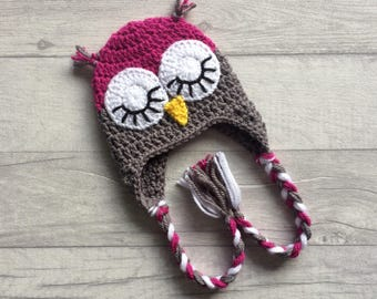 Girls Sleepy Owl Crochet Hat, Winter Hat, Earflap Hat, Wool Hat, Newborn, Baby, Toddler, Child, Photo Prop, Baby Shower Gift, MADE TO ORDER