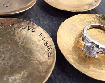 Ring Dish - Hammered Brass Dish - Ring Dish Personalized - Wedding Ring Dish - Wedding Ring Holder - Incense Dish