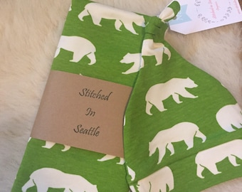 Sale Organic Baby Swaddle Set, organic swaddle blanket, bear baby blanket, bear swaddle set, baby shower gift- Bears green & cream