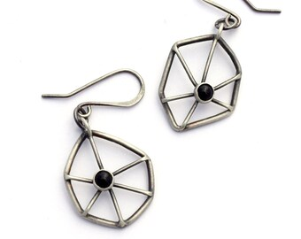 Sterling Silver Earrings, Onyx Earrings, Spider Web Earrings, Oxidized Silver Dangle Earrings, Geometric Jewelry, Contemporary Jewelry