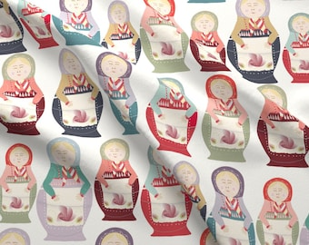 Matryoshka Doll Fabric - Russian Nesting Dolls By Cathleenbronsky - Grandmother Vintage Dolls Cotton Fabric By The Yard With Spoonflower