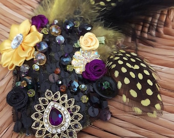 Jaipur Amethyst - ATS or tribal fusion belly dance hair clip | Gatsby flapper art deco  fascinator 1920 party ball (M)