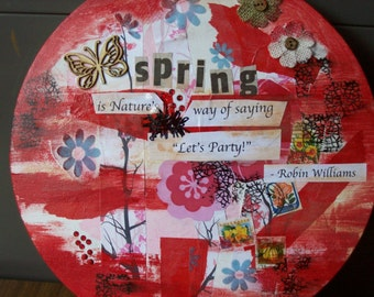 Mixed media collage.Circular collage.Sprigtime collage. Wall art.