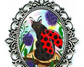 Ladybug Fairy Cat Necklace Ladybird Winged Cat Black Fairy Cat Cameo Pendant 40x30mm Gift for Cat Lovers Jewelry