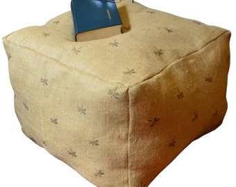 Pouf Ottoman Pillow in 100 Percent Burlap Hand Stamped Dragonfly
