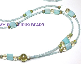 "Handmade 36"" PALE AQUA Beaded Badge ID Lanyard  Aqua Mother of Pearl Iridescent Golden Accent Beads Durable Handy"