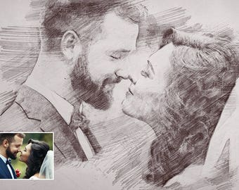 Custom Sketch Portrait, Painting from Photo, Personalized Gift, Custom Drawing, Sketch Print, 1st Anniversary Gift, Mother's Day Gift, Mens