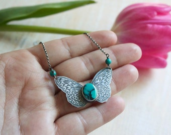 Royston Turquoise, Sterling Silver, Butterfly Pendant Necklace... On These Wings...