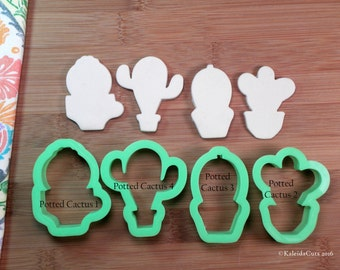 Potted Cactus Cookie Cutter. Chubby Cookie Cutter. 3D Printed. Flower Cookie Cutter. Chubby Cactus Cookies. Easter Cookies.