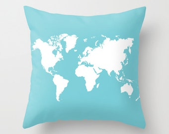 World Map Pillow Cover - Blue and White - Modern Pillow Cover - Graphic Pillow - Travel Home Decor - Nursery Pillow - By Aldari Home
