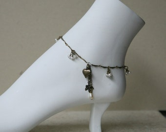 Antiqued Brass, Pearl Dangling Heart Charm Anklet