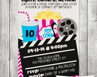 Girl Movie Birthday Party Invitation - 5x7 JPG DIGITAL FILE