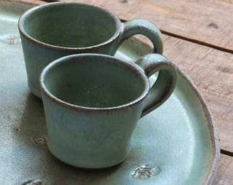 Ceramic espresso cup set, SET OF TWO, Light green/white small cup, Pottery espresso cup, Coffee lovers gift, Small tea cups, Gift for her