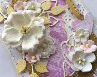 Tall handmade wedding card, love card, anniversary card, flower card, Mother's Day card