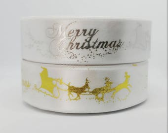 25Yards White Christmas Single Faced Satin Ribbon - 25mm(1'')