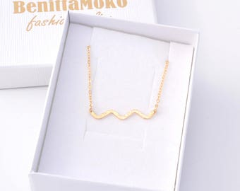 Wave Necklace - Beach Necklace Gold Wave Necklace - Tiny Ocean Wave Necklace - Gold Necklace - Necklace - Wave Pendant - Gift - Wave Jewelry
