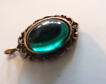 Steam punk Gothic Green  pendent mystical pendant on copper chain, cabochon pendant, sparkle, glitter, bohemian, gypsy