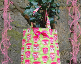 Tote bag tote bag - designer cotton - green and Fuchsia fabric designer teapots theme