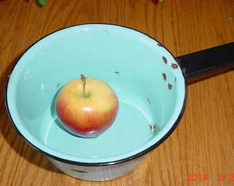Vintage Blue Enamel 1950's Sauce Pan