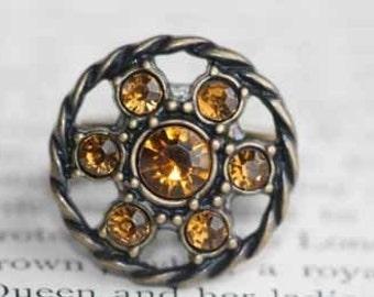 Pinwheel Of Rhinestones Ring