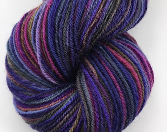 """Handspun Yarn """"African Violets"""" Fingering Corriedale 280 yds."""