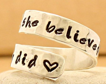 She Believed She Could So She Did - Adjustable Personalized Ring - Sterling Silver -Hand Stamped - Inspirational Jewelry - Graduation Ring